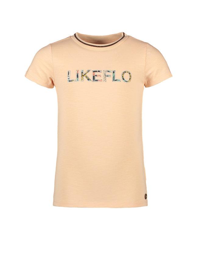 Like Flo - Slub Tee With Ruffle - Salmon