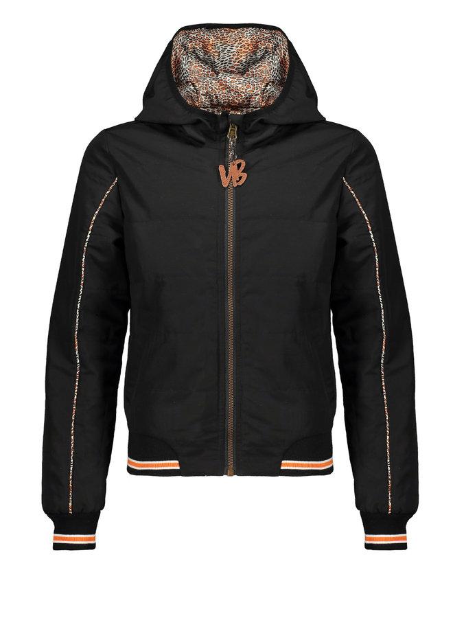 Nobell' - Reversible Hooded Bomber Jacket Bibi - Leopard AOP/Ginger