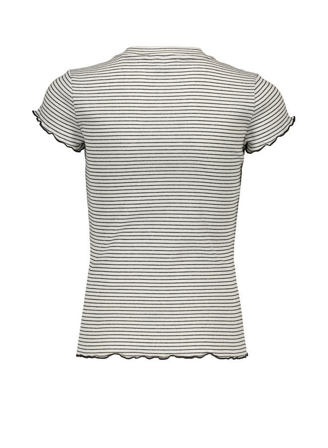 Nobell' - Yarn Dyed Rib Jersey Shirt Kima - Off White