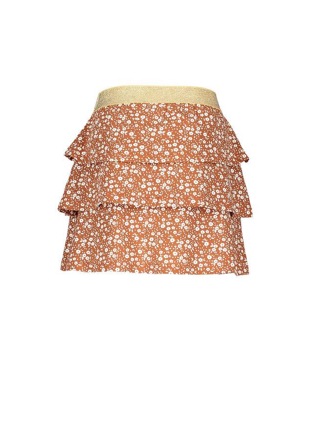 Moodstreet - Skirt With Frills AO Min Flower - Toffee