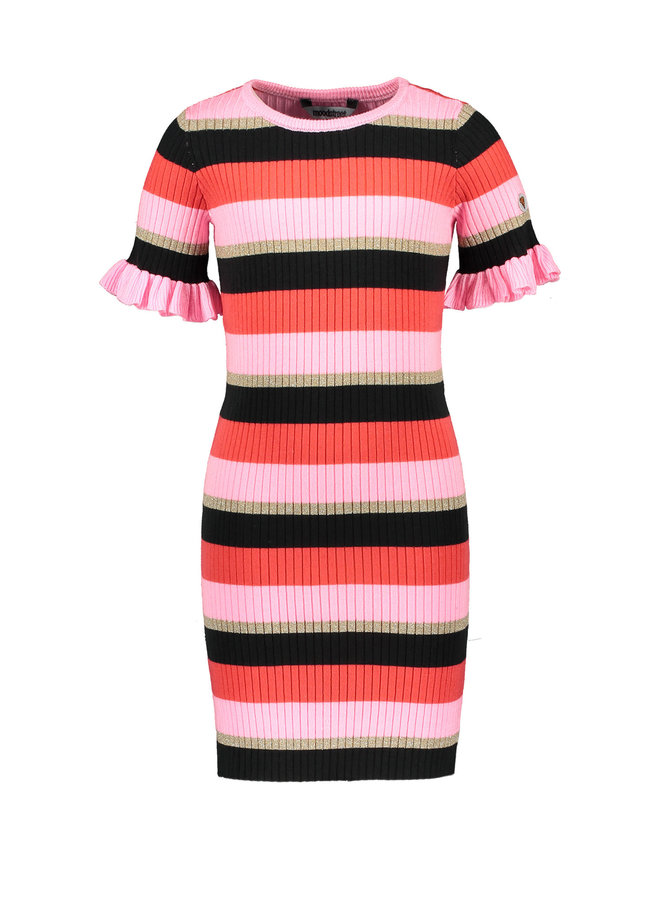 Moodstreet - Knitted Striped Dress - Red