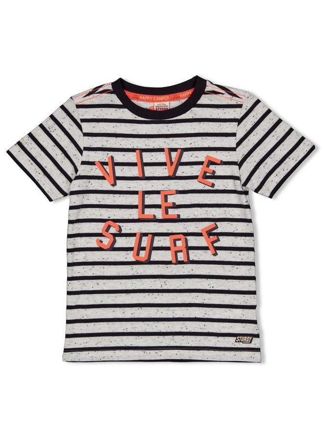 Sturdy - T-shirt Streep Antraciet - Happy Camper