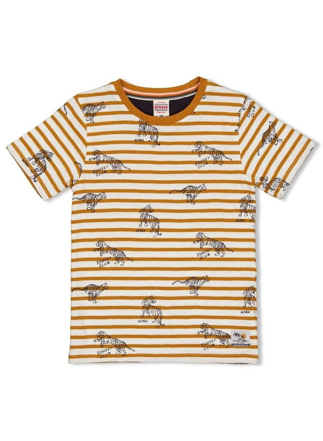 Sturdy - T-shirt Streep Okergeel - Happy Camper