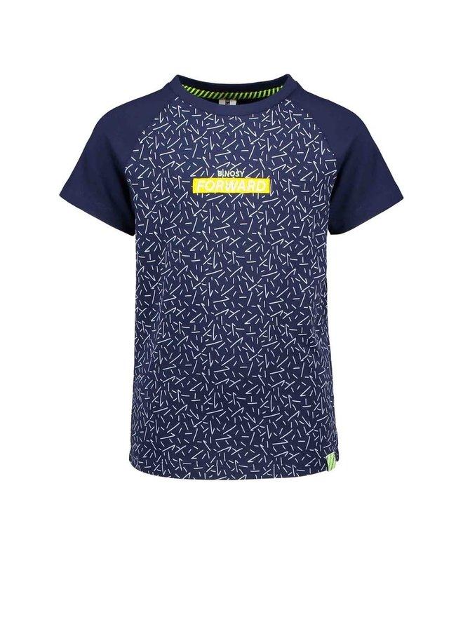 B.Nosy - Short Sleeve Raglan Shirt With Contrast Body - Kris Kras Space Blue
