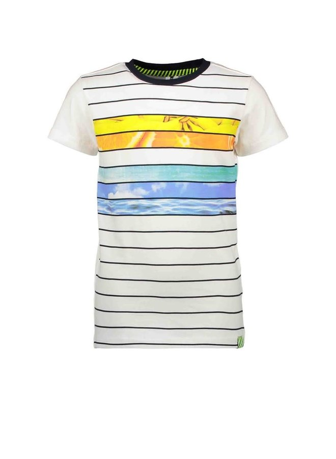 B.Nosy - Shirt With Printed Stripes And Chest Print - Forward Snow Stripe