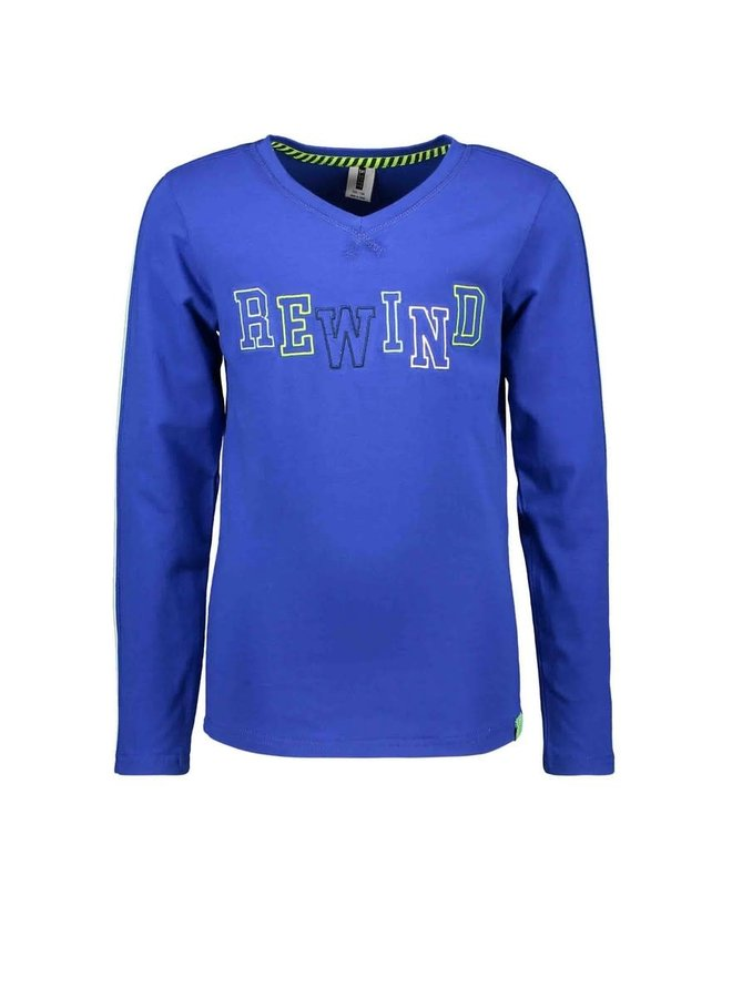 B.Nosy - Longsleeve With V-Neck And Tape On Sleeves - Cobalt Blue
