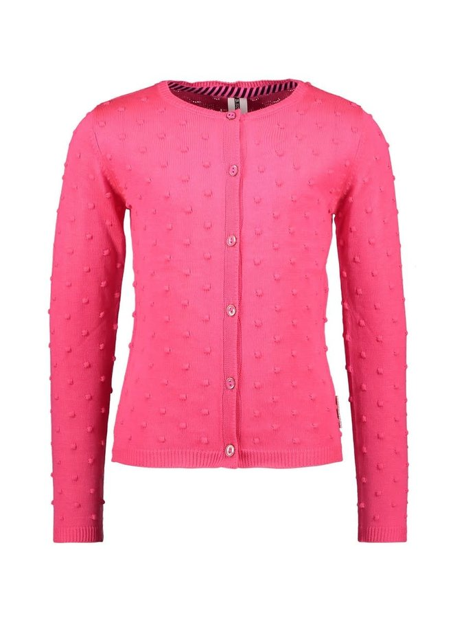 B.Nosy - Fine Jaquard Knitted Cardigan With Button Closure - Knock Out Pink