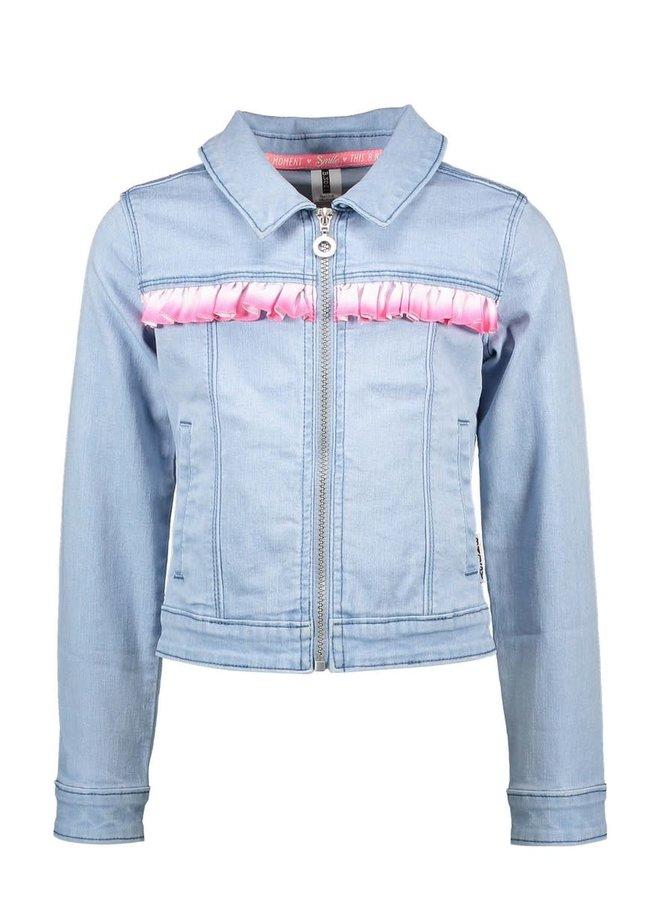 B.Nosy - Denim Jacket With Silver Vertical Ruffle - Light Denim