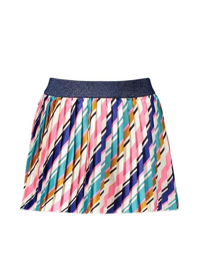 B.Nosy - Satin Skirt With Slanted Stripe - Striped Curious