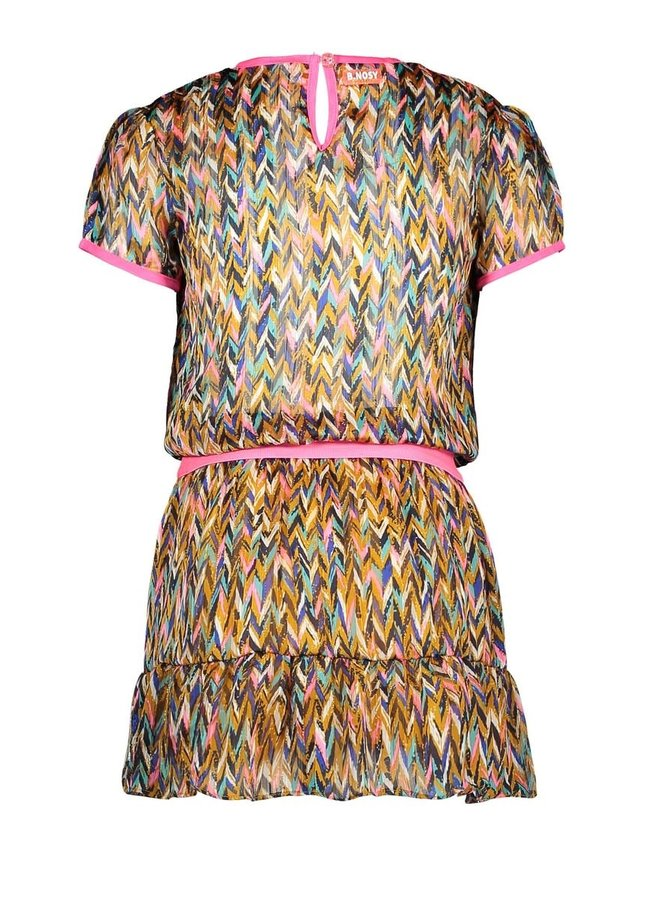B.Nosy - Woven Dress With V-Shaped Ruffle - Curious AO