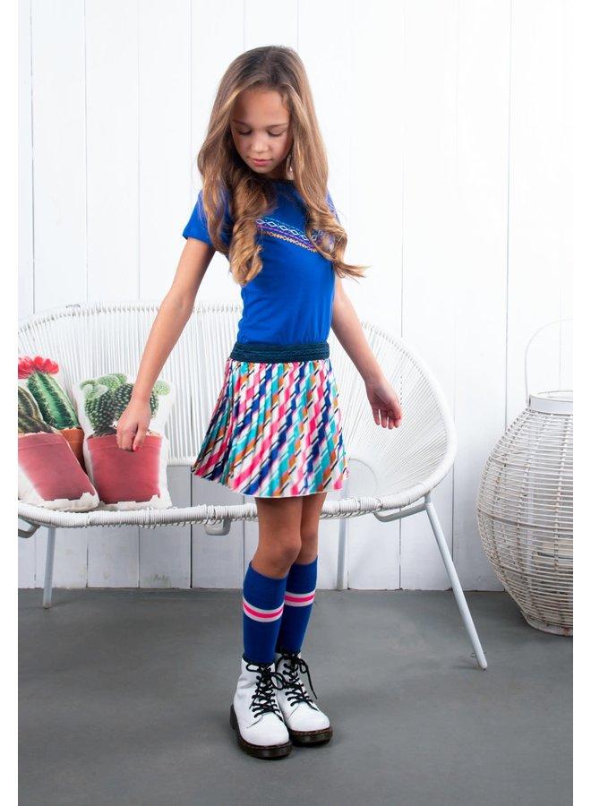 B.Nosy - Dress With Pleated Satin Skirt - Cobalt
