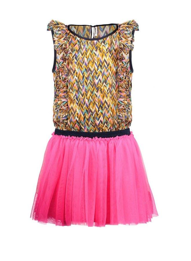 B.Nosy - Dress With Curious AOP Woven Top And Mesh Skirt - Curious AO