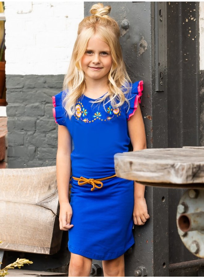 B.Nosy - Dress With Flower Embro On Chest And Fancy Cord - Cobalt Blue