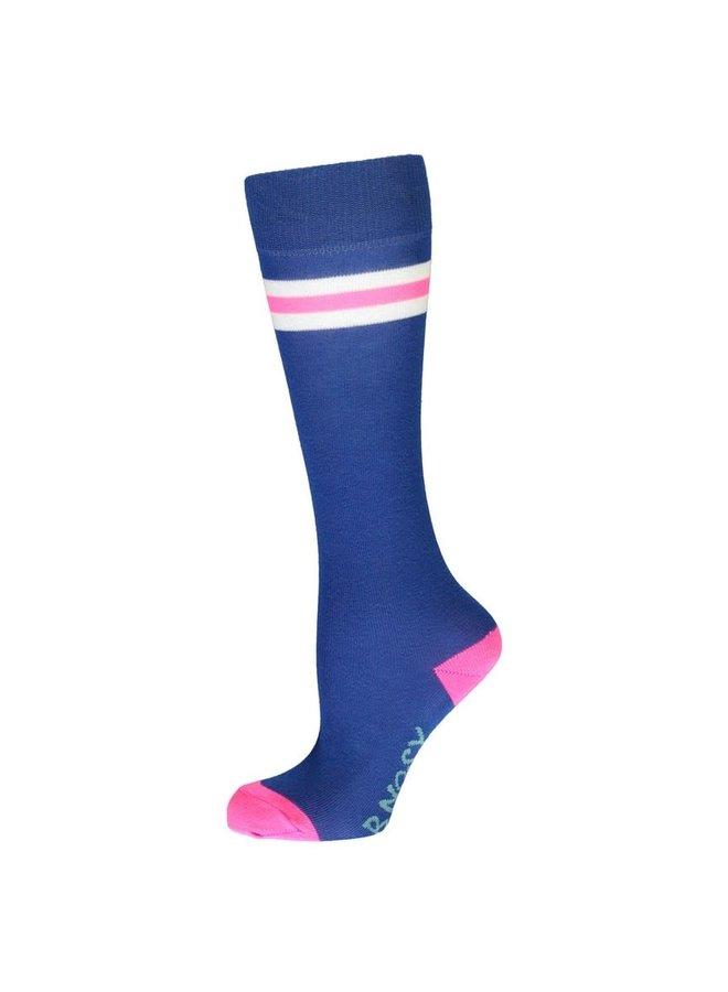 B.Nosy - Solid B.Curious Socks With 2 Sporty Stripes - Cobalt Blue