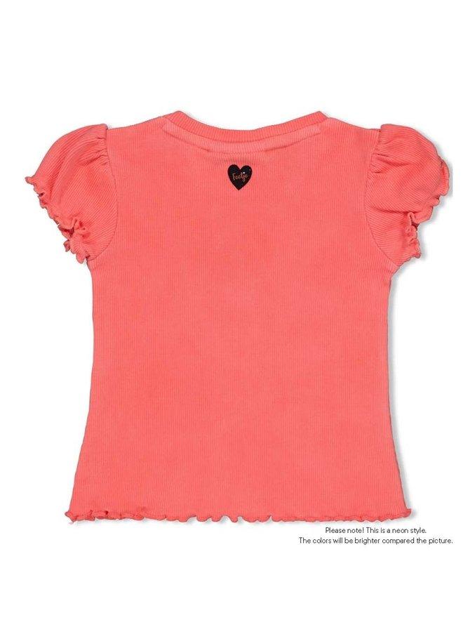 Feetje - T-shirt My Favorite Neon Koraal - Leopard Love