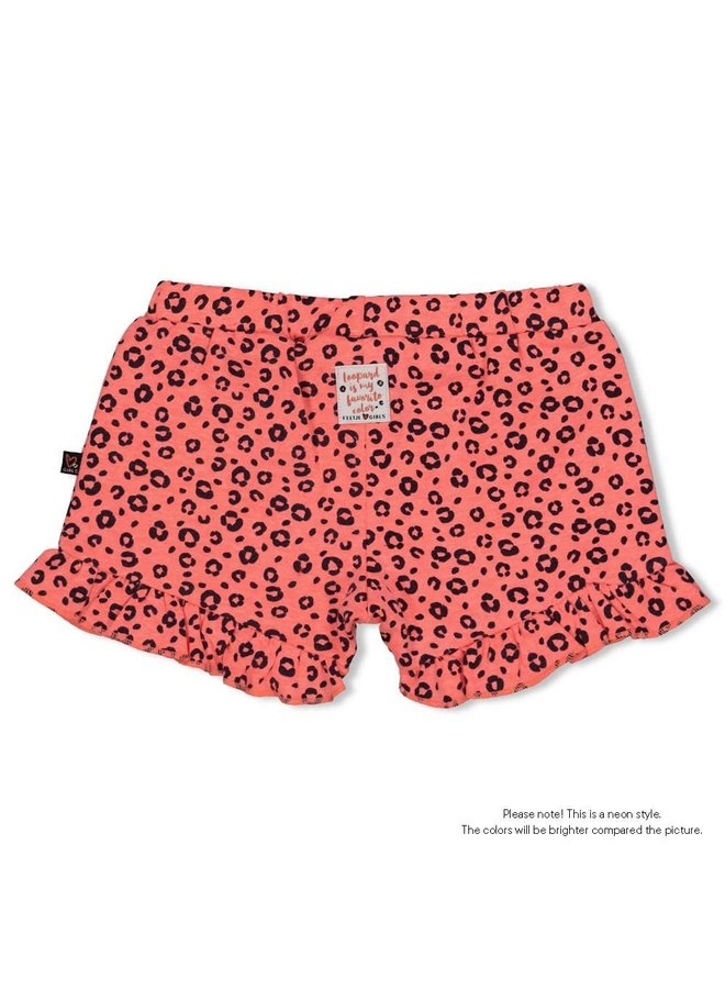 Feetje - Broekje Neon Koraal - Leopard Love