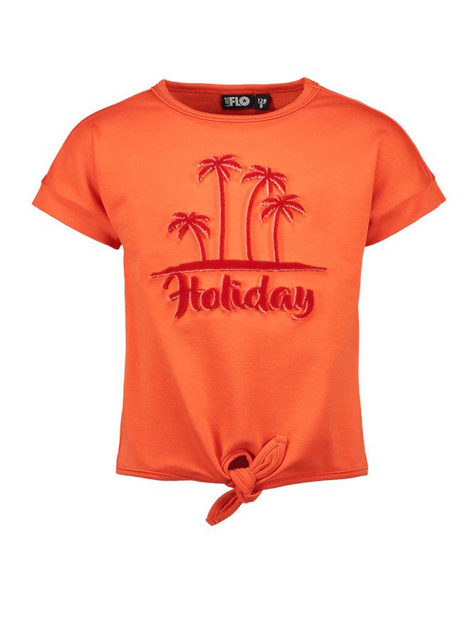 Like Flo - lt Sweat Knotted Sweater - Orange
