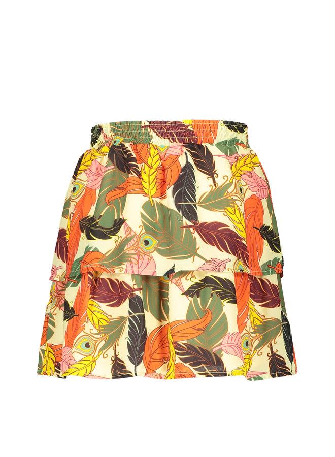 Like Flo - AO Woven 2 Layer Skirt + Belt - Feather