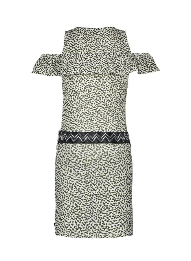 Like Flo - Slub Jersey Ruffle Dress With Belt AOP - Animal