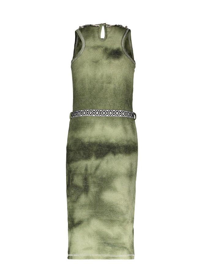 Like Flo - Waffle Bleach Maxi Singlet Dress - Army