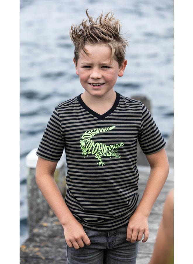 Tygo & vito - Shirt Stripe Crocodile - Army