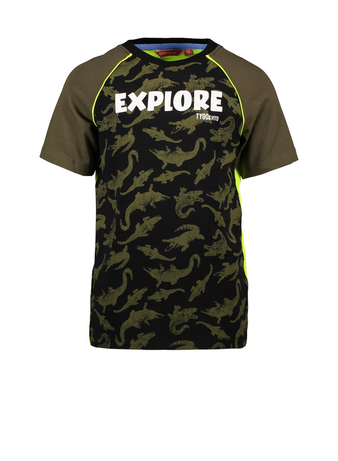 Tygo & vito - Raglan Shirt AO Crocodile Explore - Army