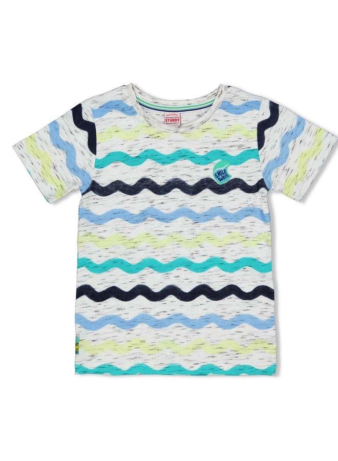 Sturdy - T-shirt AOP Wit - Smile & Wave