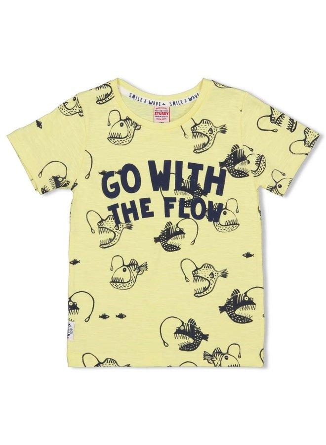 Sturdy - T-shirt AOP Geel - Smile & Wave