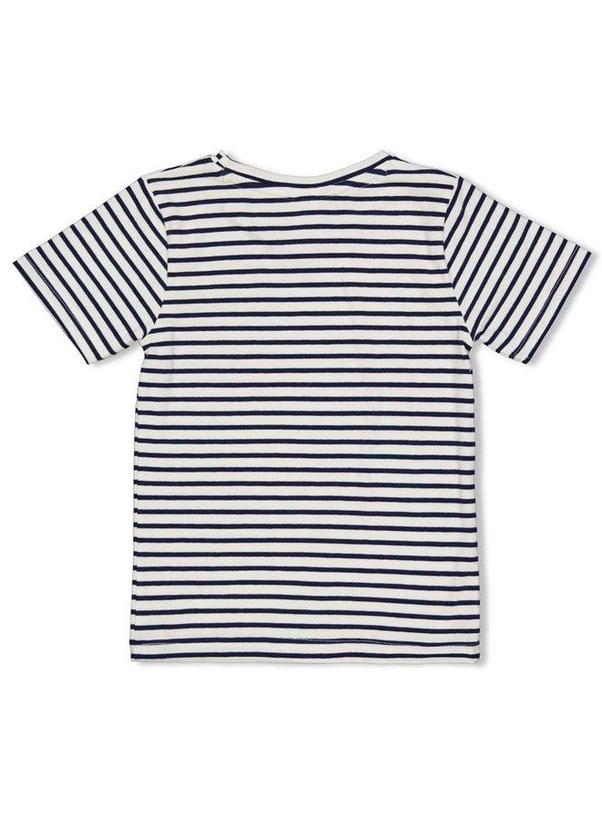 Sturdy - T-shirt Streep Indigo - Smile & Wave