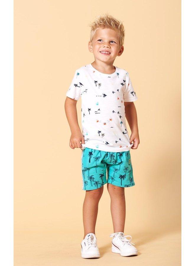 Sturdy - T-shirt Wit AOP - Smile & Wave
