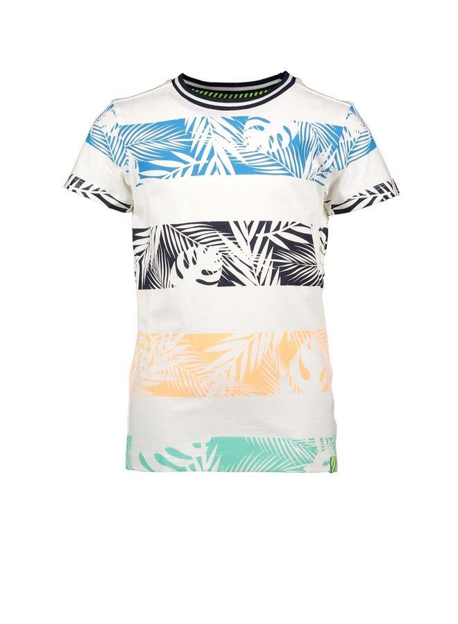 B.Nosy - Shirt With Palm Print Stripes - Snow White