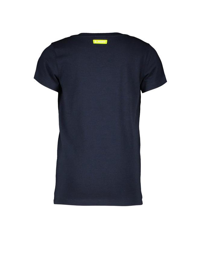 B.Nosy - V-Neck Shirt With Chest Artwork - Oxford Blue