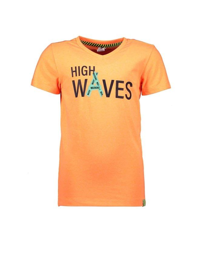 B.Nosy - V-Neck Shirt With Chest Artwork - Neon Orange