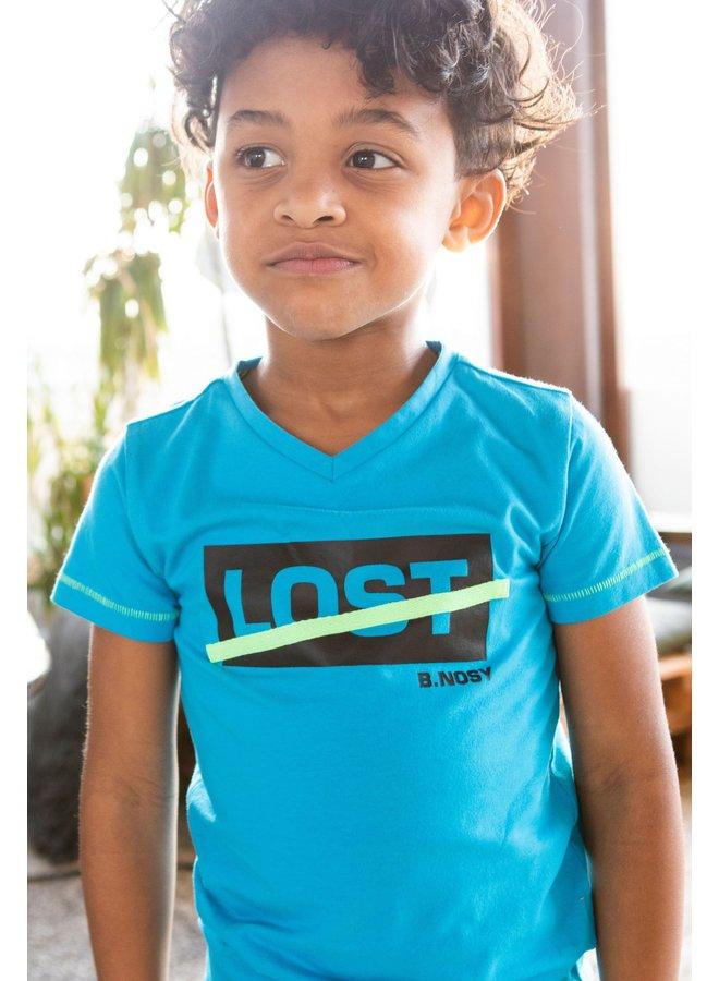 B.Nosy - Shirt With V-Neck And Chest Artwork - Surf Blue