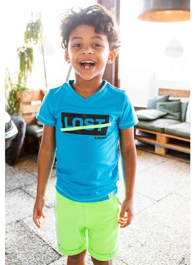 B.Nosy - Sweat Shorts With Multicolor Rib At Hem - Gecko Green