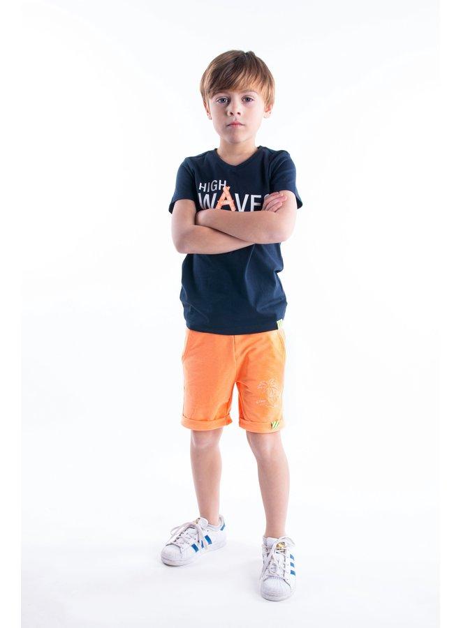 B.Nosy - Uni Shorts With Smocked WB - Neon Orange