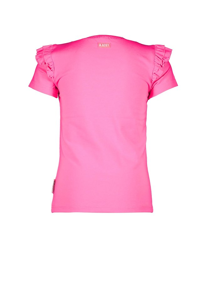 B.Nosy - Shirt With Sequincse Flowers On Body - Knock Out Pink