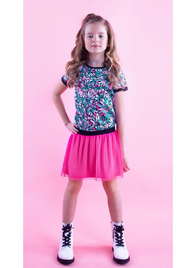 B.Nosy - Sunny Flower Dress With Plisse Netting Skirt - Sunny AO