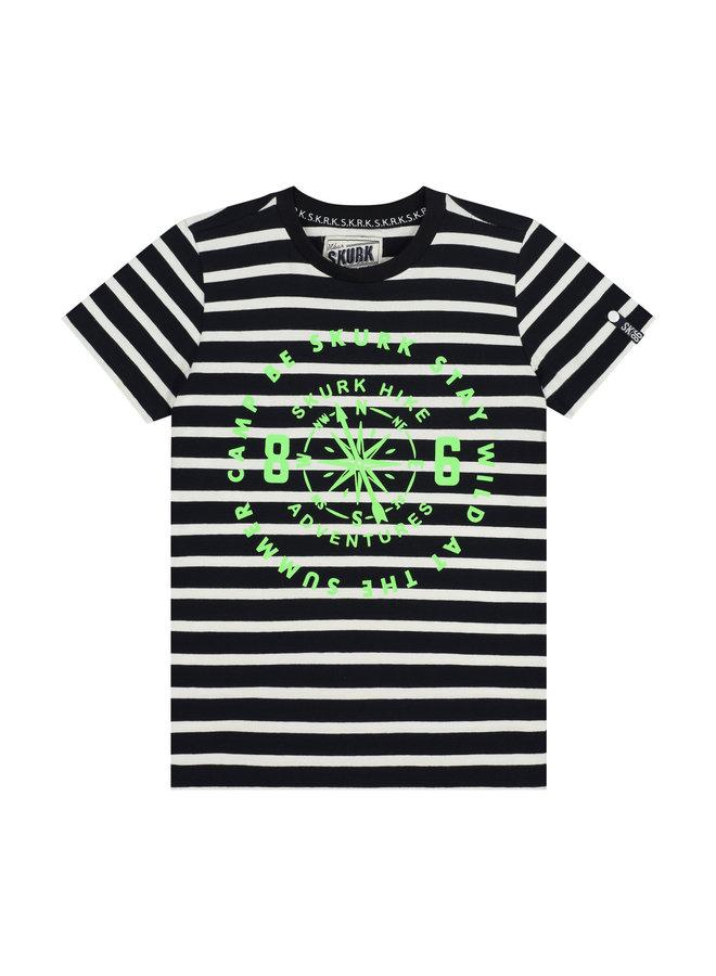 SKURK - Shirt Tieme - Navy/White