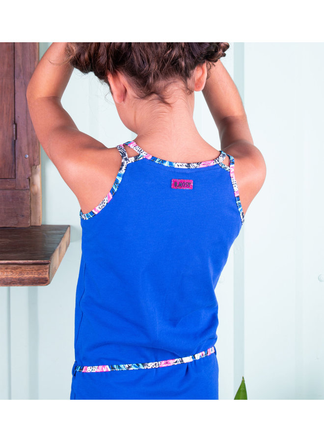 B.Nosy - Dress With Belt And Embroidery On Chest - Cobalt Blue