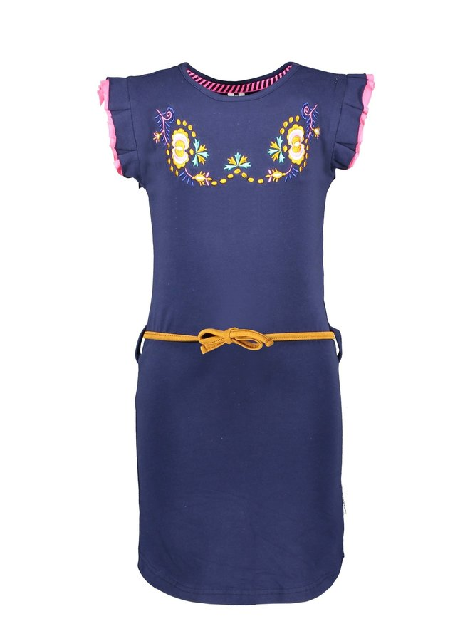 B.Nosy - Dress With Flower Embro On Chest And Fancy Cord - Space Blue