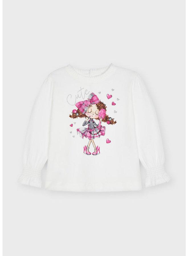 Mayoral - Longsleeve Doll Shirt - Natur-fusc