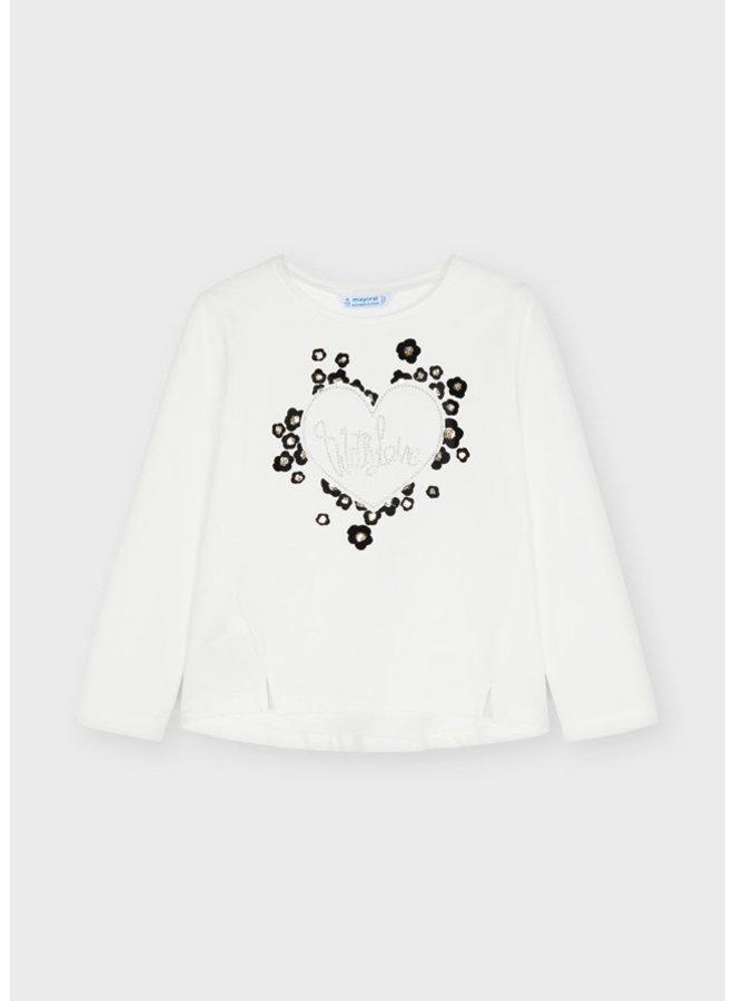 Mayoral - Hearts Longsleeve Flock Shirt - Natural