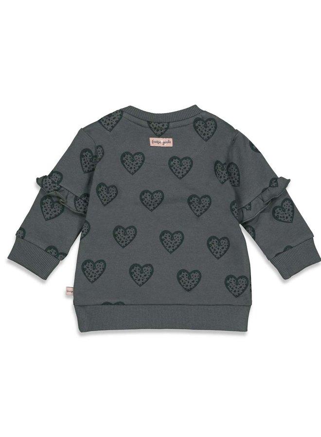 Feetje - Sweater AOP Antraciet - Full Of Love