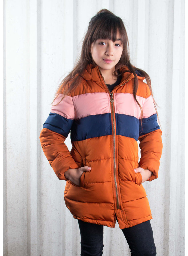 B.Nosy - Long Jacket With Contrast Chest Parts - Camel