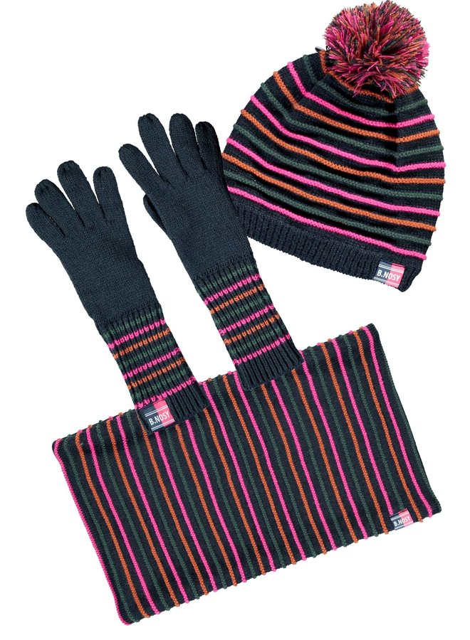 B.Nosy - Hat, Neckwarmer & Gloves Set - Space Blue