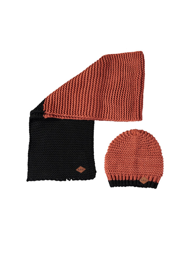 Nobell' - Rai Knitted Set: Scarf And Hat - Star Anise