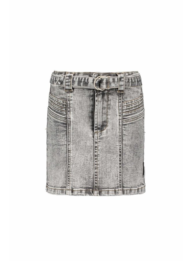 B.Nosy - Denim Skirt With Belt And Pleated Details - You Denim