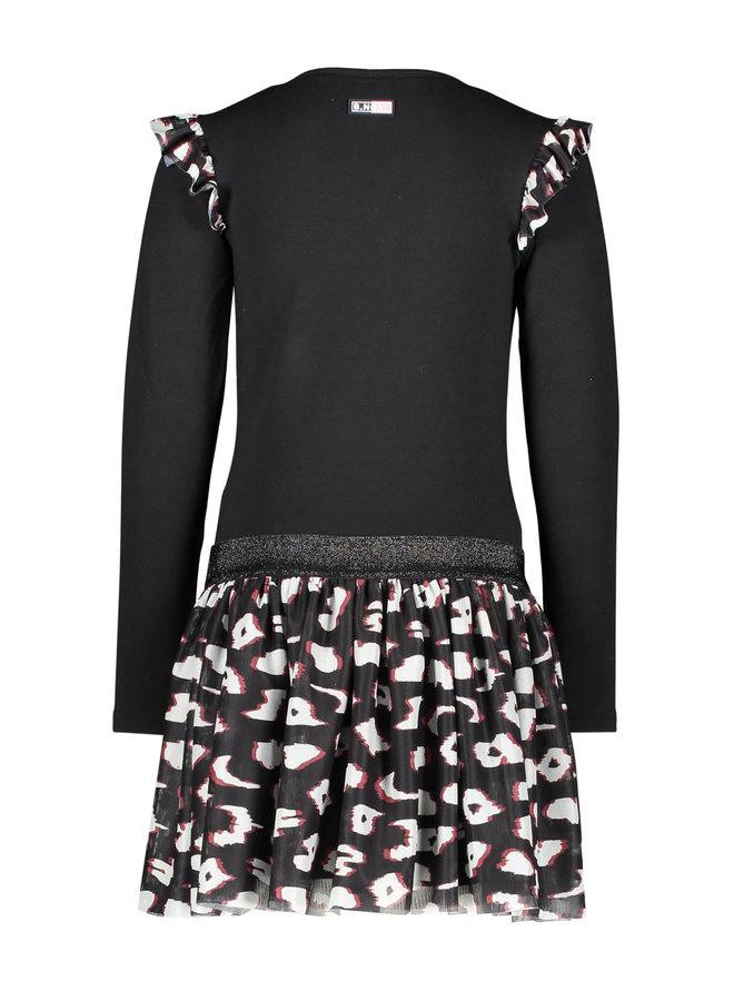 B.Nosy - Dress With Mesh Skirt And Ruffle Around Armhole - Black