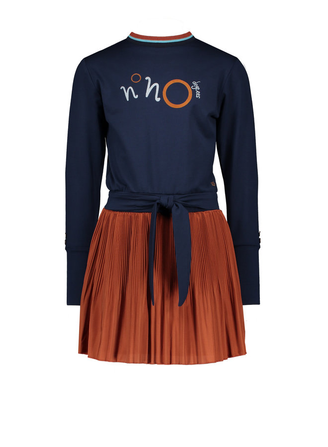 NoNo - Mayla Combi Dress With Jersey Top + Plissee Skirt - Rust